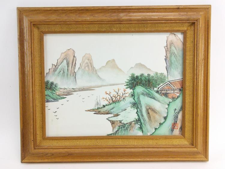 Marked Japanese Landscape Paint on Canvas