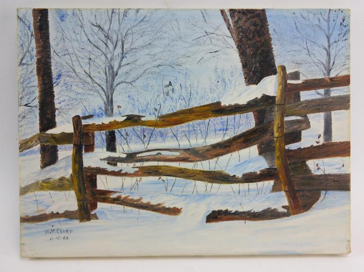 Milt Clary Snowy Fence Acrylic on Canvas