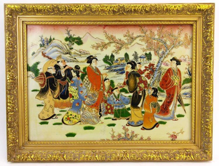 Asian Scene Framed Painted Porcelain