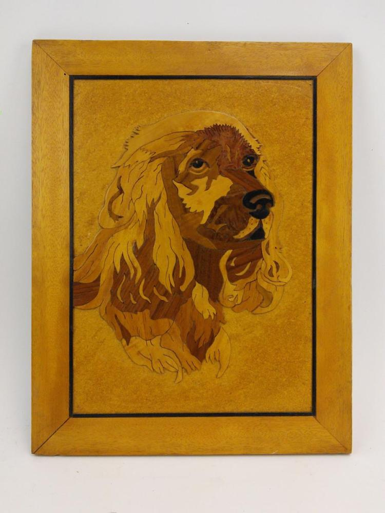 Dog Portrait Inlayed Wood on Board