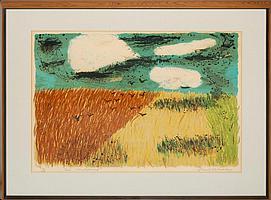 "1950s Emil Weddige ""Ed's Backfield"" Lithograph"