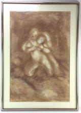 A. Michelet, Erotic Nude Charcoal on Paper