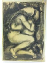 A. Michelet, Nude Embrace Charcoal on Paper