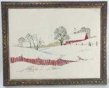 Senora Miller Snowy Red Barn Needle Point