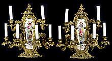Pair of Gilt Bronze Rococo & Porcelain Sconces