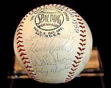 1959 Dodgers World Series Autograph Baseball