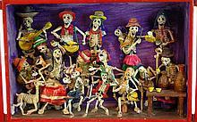 Día de Muertos Skeleton Shadowbox Diorama in Full Relief