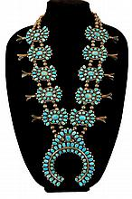 HUGE Turquoise Squash Blossom Necklace