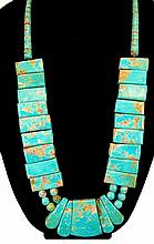 Block Turquoise Pendant Necklace