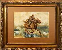 Jozef  Chelmonski (1849-1914) Watercolor Painting
