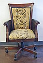 Wooden and Leather Upholstered Office Chair