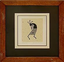 Kokopelli Ink on Paper by Quackenbush