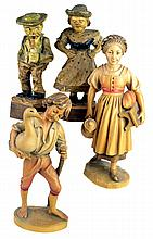 4 Carved and Painted Wooden Figures, Goose Boy
