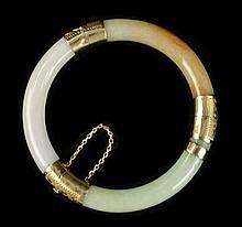 14k Tri-Color Jade Hinged Bangle