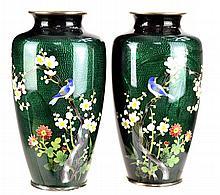Pair of Green Foil Cloisonne Vases, Birds & Floral