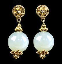 Pair of Plated Jade Ball Drop Earrings