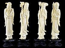 4 Vintage Asian Ivory Immortal Figures