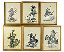 6 Vintage Oil Paintings by Juan R Parker, Cowboys