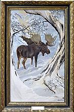 Vintage Oil Painting Moose by Juan R Parker