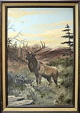 Vintage Oil Painting, Deer by Juan R Parker