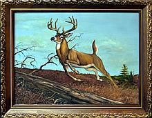 Vintage Oil Painting Leaping Deer by Juan R Parker