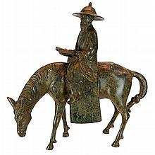 Old Chinese Bronzed Iron Horse & Rider