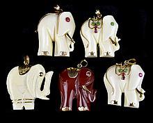 (5) 14k Embellished Carved Ivory/Stone Pendants