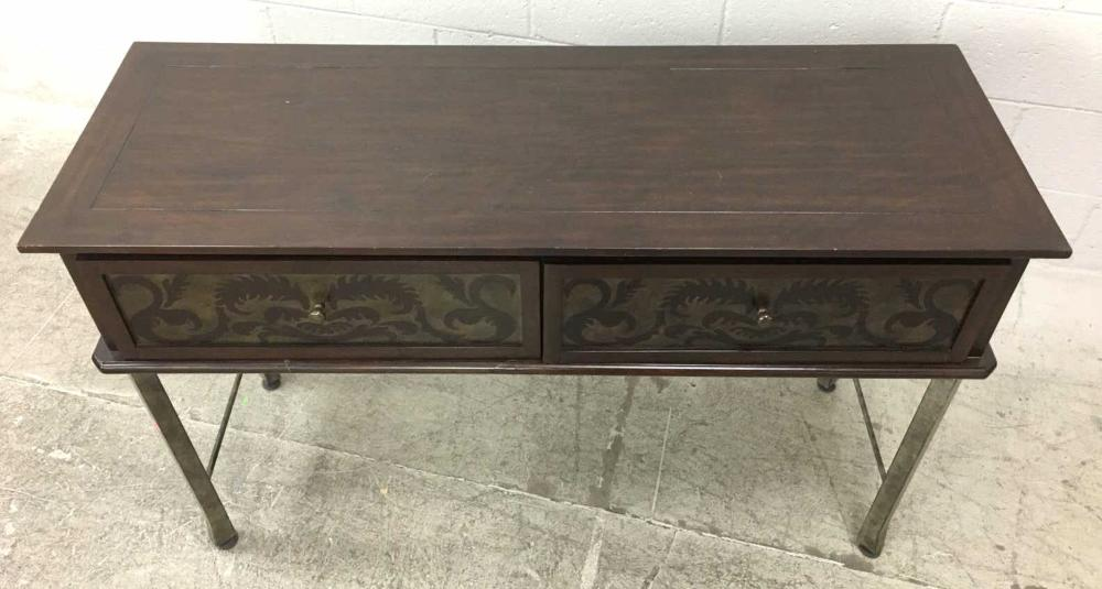 20th C Iron Wood Entry Table