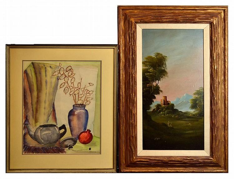 2 Paintings European Oil Canvas Castle, Still Life