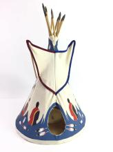 American indian art general for sale at online auction buy rare native american canvas teepee table lamp aloadofball Image collections
