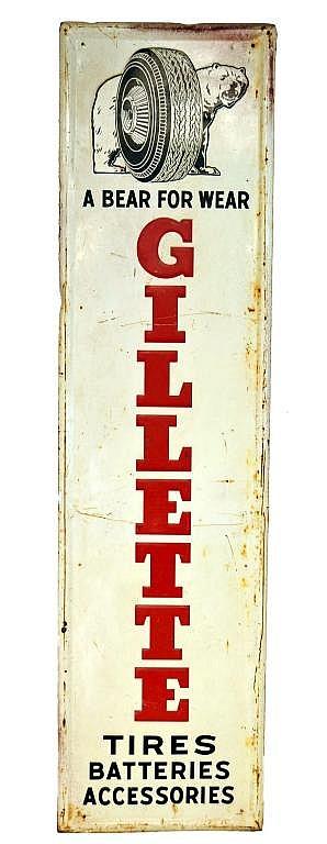 Vintage Enameled Gillette Tire Sign, Approx. 73