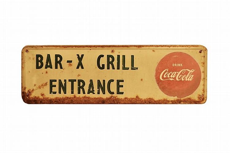 Vintage Coca Cola Enameled Sign, Bar Entrance.