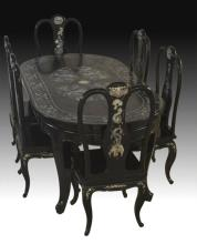 Asian Four Dragon Table&Chairs
