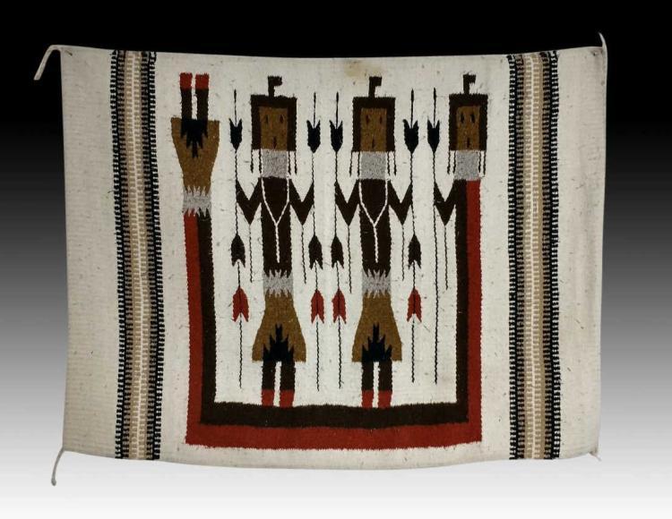 Navajo Hand Woven Yei Rug 20th C