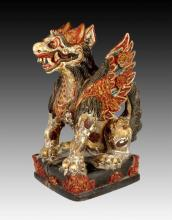 Asian Antique Foo Dog Temple Carving