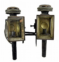 PAIR of Antique Electrified Metal Coach Lamps