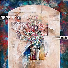 Large Contemporary Floral Mixed Media