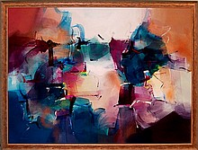 Large Colorful Contemporary Mixed Media