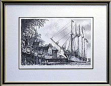 Alan Jay Gains Ship Etching, Signed, Dated 1976