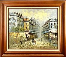 Paris Street Scene, Oil Painting Signed Burnett