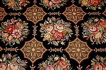 Handmade Embroidered Tapestry/Rug in Black