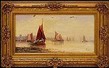 Oil Painting in Gilded Frame, Ships