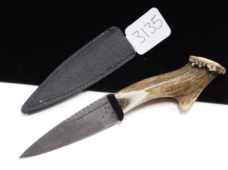 Unmarked Stag Handled Dagger With Acid Etched Blade