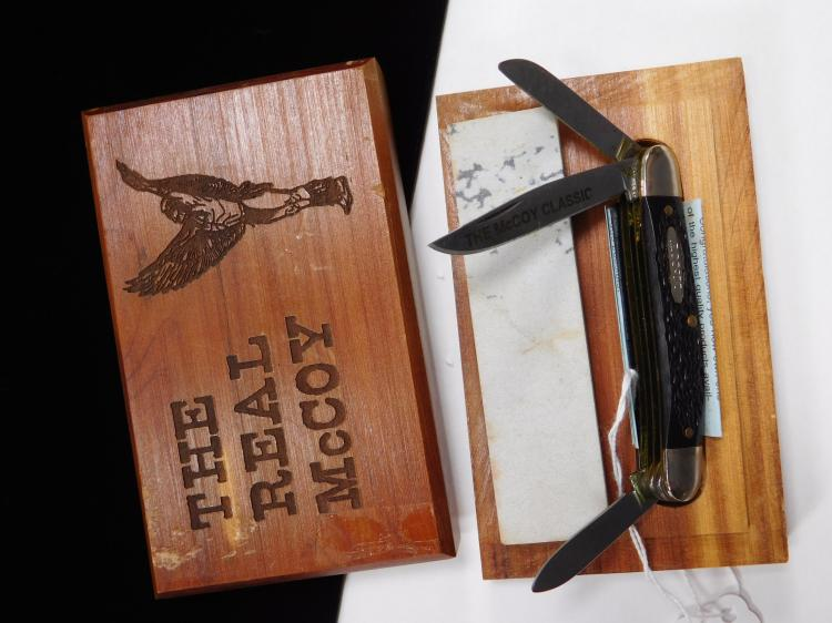 Mccoy Three Bladed Folding Knife With Cedar Box And