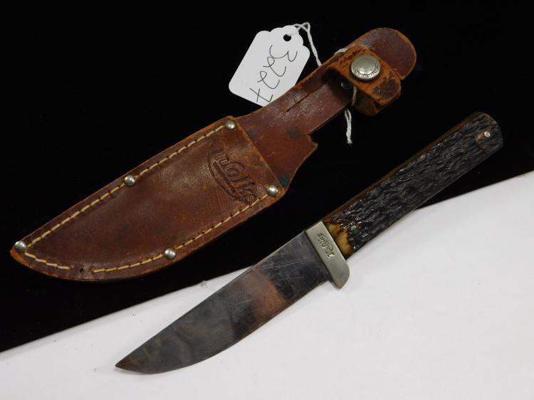 Vintage Kinfolks Inc Jigged Horn Fixed Blade Knife With Sheath