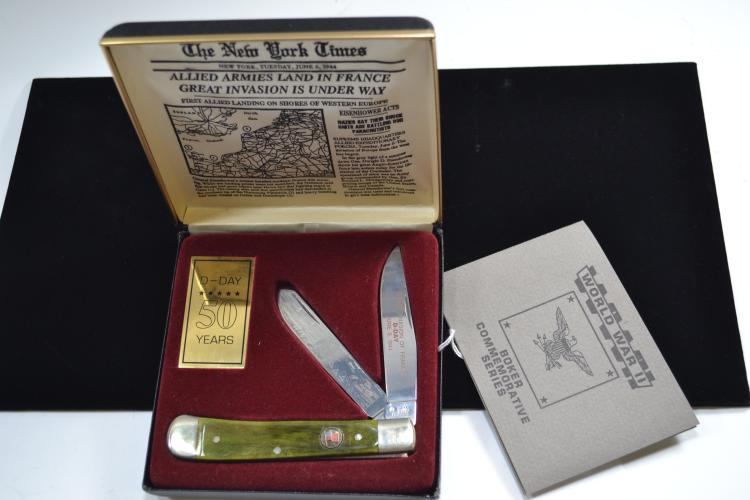 Boker D-Day Commemorative 2 Blade Folding Pocket Knife In Presentation Case