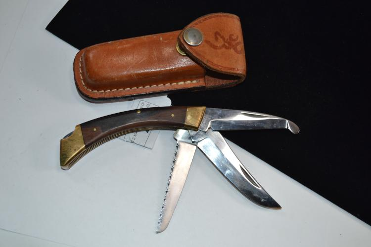 Browning Lock Back 3 Blade Folding Pocket Knife With Leather Sheath