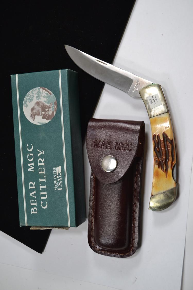 Bear Mgc Cutlery Staghorn Folding Pocket Knife New In Box
