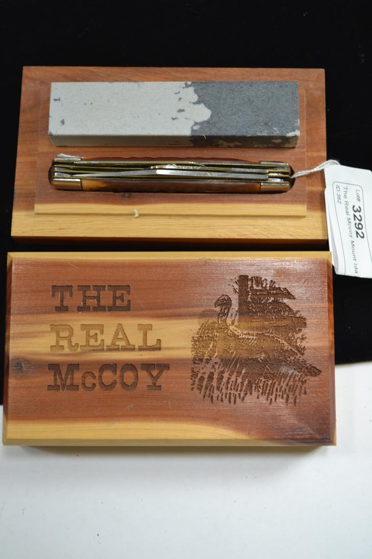 The Real Mccoy Mount Ida Arkansas Stag Horn 3 Blade Folding Pocket Knife In Wood Presentation Case