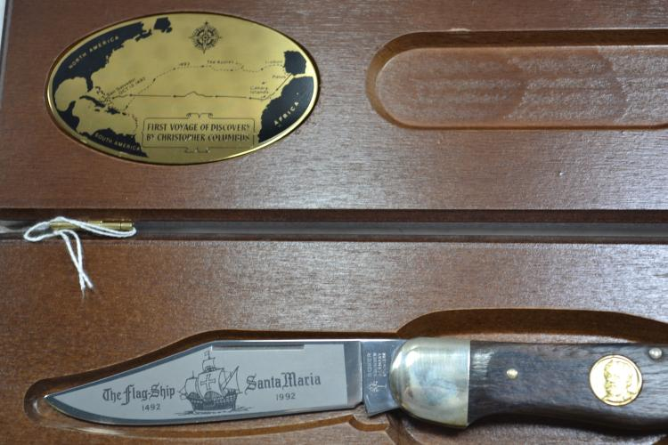 Poker 1991 Christopher Columbus Limited Edition Folding Blade Pocket Knife